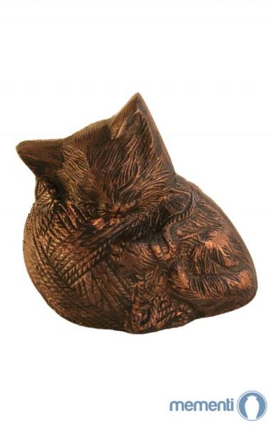 Mementi Braune Urne schlafende Katze mit Wolle