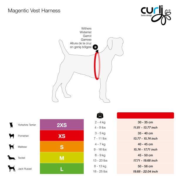 curli_Magentic_Vest_Harness_Size_Chart