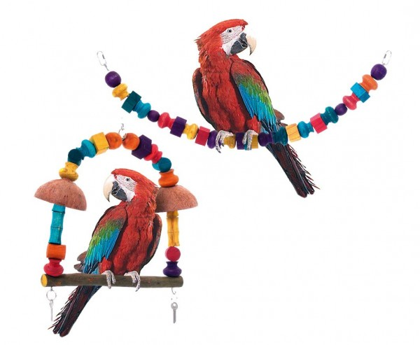 Natur Schaukel und Spielzeug für Papageien