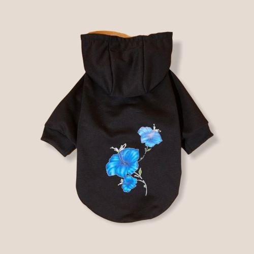Hoodie für Hunde Hundepullover Black Flower