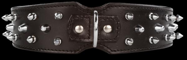 Lederhalsband Savage Spikes Schwarz/ Silber 45 mm