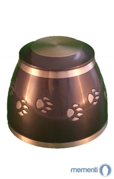 Mementi Polierte Bronze Tierurne mit Pfotenabdruck
