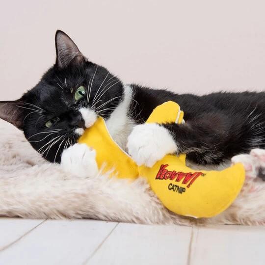 Bananen Katzenspielzeug gefüllt mit Katzenminze