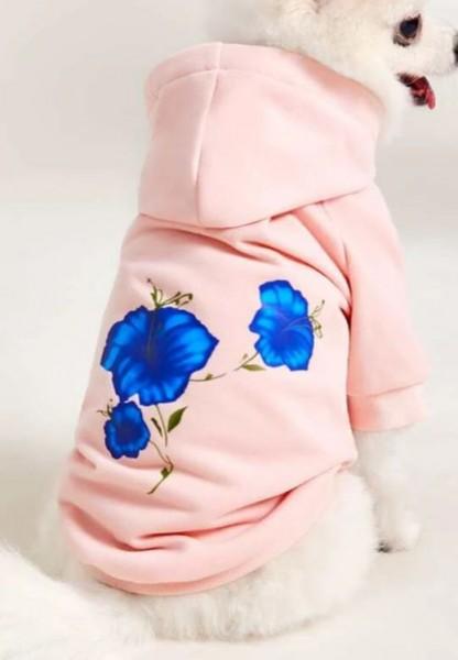 Hoodie für Hunde Hundepullover Pink Flower