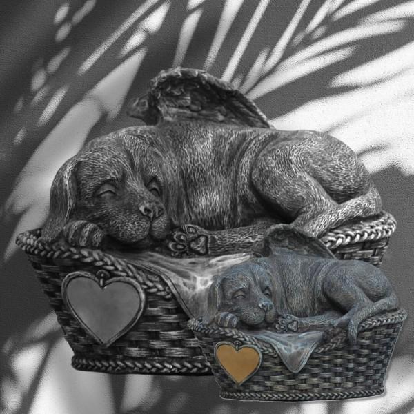 Tierurne Hundeurne Hund in Körbchen