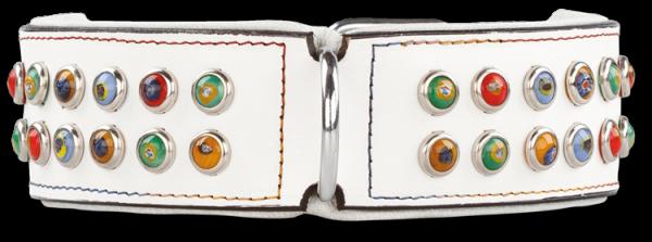 Lederhalsband Silly Stones White 50 mm